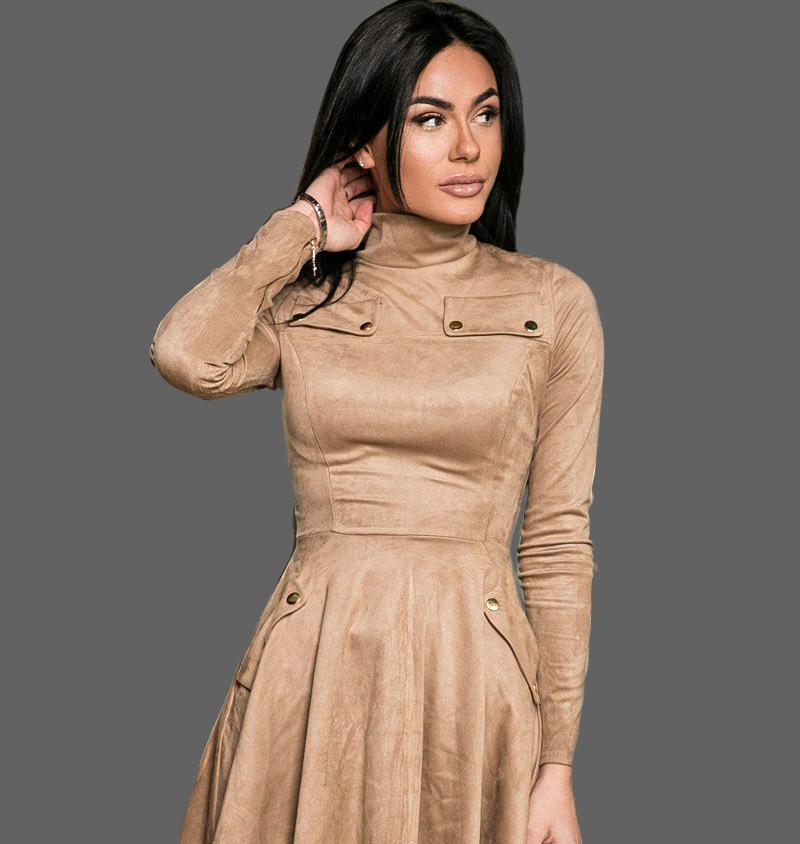 Замшевое платье клеш