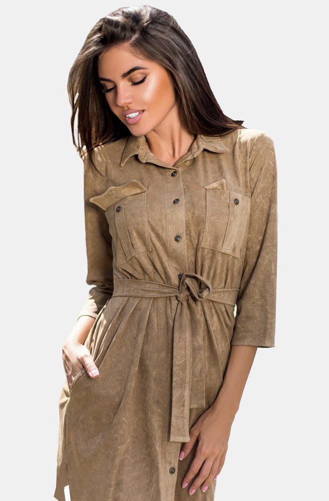 Замшевое платье рубашка